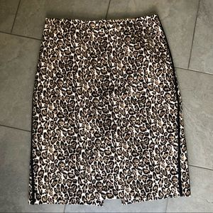 Leopard print stripe cotton pencil wiggle skirt